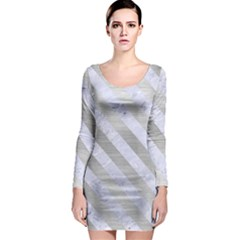 Stripes3 White Marble & Silver Brushed Metal Long Sleeve Bodycon Dress