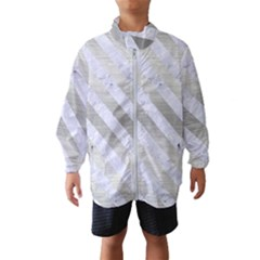 Stripes3 White Marble & Silver Brushed Metal Wind Breaker (kids)