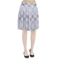 Square1 White Marble & Silver Brushed Metal Pleated Skirt