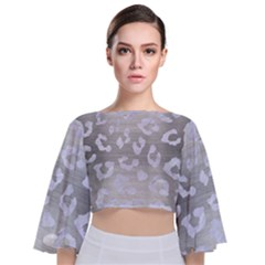 Skin5 White Marble & Silver Brushed Metal (r) Tie Back Butterfly Sleeve Chiffon Top