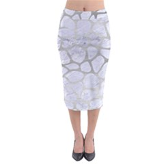 Skin1 White Marble & Silver Brushed Metal Midi Pencil Skirt