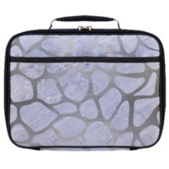 Skin1 White Marble & Silver Brushed Metal Full Print Lunch Bag
