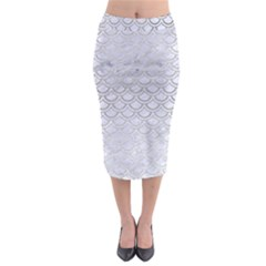 Scales2 White Marble & Silver Brushed Metal (r) Midi Pencil Skirt