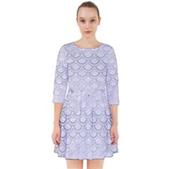 Scales2 White Marble & Silver Brushed Metal (r) Smock Dress