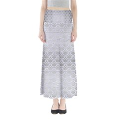 Scales2 White Marble & Silver Brushed Metal Full Length Maxi Skirt