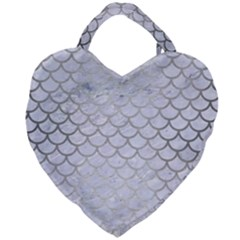 Scales1 White Marble & Silver Brushed Metal (r) Giant Heart Shaped Tote