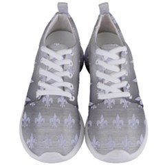 Royal1 White Marble & Silver Brushed Metal (r) Men s Lightweight Sports Shoes
