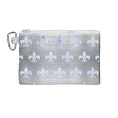 Royal1 White Marble & Silver Brushed Metal (r) Canvas Cosmetic Bag (medium)