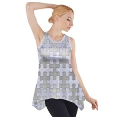 Puzzle1 White Marble & Silver Brushed Metal Side Drop Tank Tunic