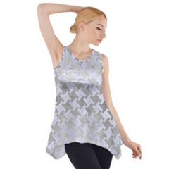 Houndstooth2 White Marble & Silver Brushed Metal Side Drop Tank Tunic