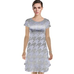 Houndstooth1 White Marble & Silver Brushed Metal Cap Sleeve Nightdress