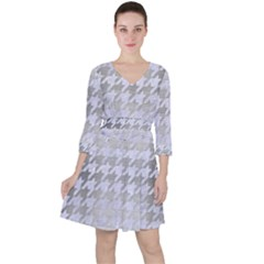 Houndstooth1 White Marble & Silver Brushed Metal Ruffle Dress