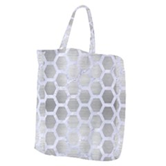 Hexagon2 White Marble & Silver Brushed Metal Giant Grocery Zipper Tote