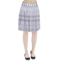 Diamond1 White Marble & Silver Brushed Metal Pleated Skirt