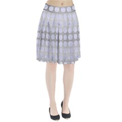 Circles1 White Marble & Silver Brushed Metal Pleated Skirt