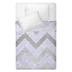 Chevron9 White Marble & Silver Brushed Metal (r) Duvet Cover Double Side (single Size)