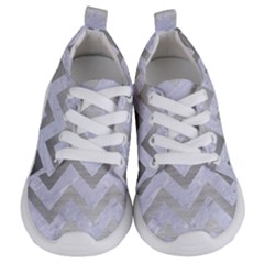 Chevron9 White Marble & Silver Brushed Metal (r) Kids  Lightweight Sports Shoes