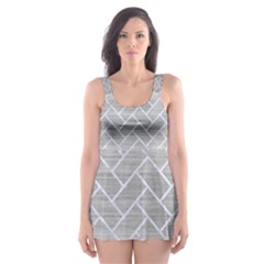 Brick2 White Marble & Silver Brushed Metal Skater Dress Swimsuit