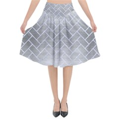 Brick2 White Marble & Silver Brushed Metal Flared Midi Skirt
