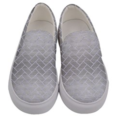 Brick2 White Marble & Silver Brushed Metal Men s Canvas Slip Ons
