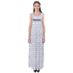 Brick1 White Marble & Silver Brushed Metal (r) Empire Waist Maxi Dress
