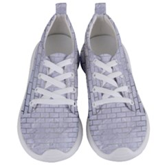 Brick1 White Marble & Silver Brushed Metal (r) Women s Lightweight Sports Shoes