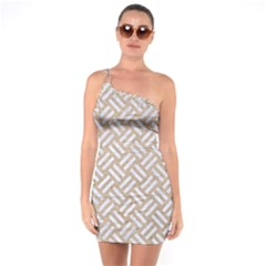Woven2 White Marble & Sand One Soulder Bodycon Dress