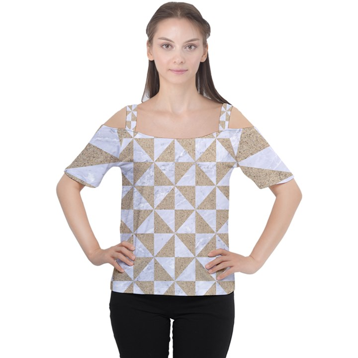 TRIANGLE1 WHITE MARBLE & SAND Cutout Shoulder Tee
