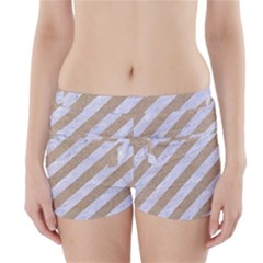 Stripes3 White Marble & Sand (r) Boyleg Bikini Wrap Bottoms
