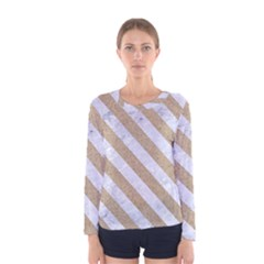 Stripes3 White Marble & Sand Women s Long Sleeve Tee