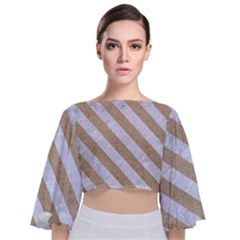Stripes3 White Marble & Sand Tie Back Butterfly Sleeve Chiffon Top