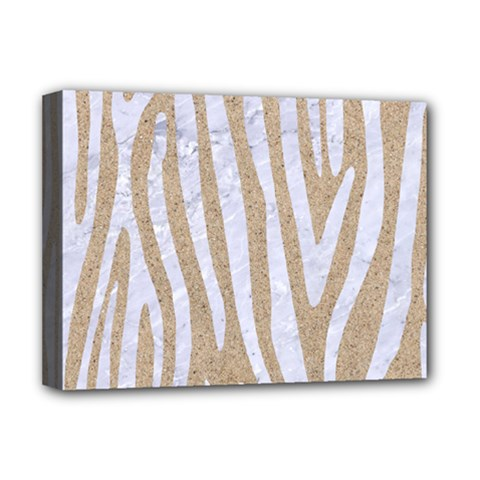 Skin4 White Marble & Sand (r) Deluxe Canvas 16  X 12