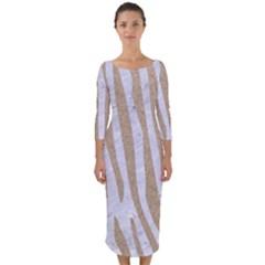 Skin4 White Marble & Sand Quarter Sleeve Midi Bodycon Dress