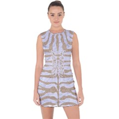 Skin2 White Marble & Sand (r) Lace Up Front Bodycon Dress