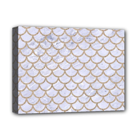 Scales1 White Marble & Sand (r) Deluxe Canvas 16  X 12