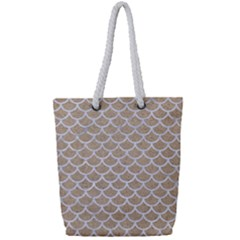 Scales1 White Marble & Sand Full Print Rope Handle Tote (small)