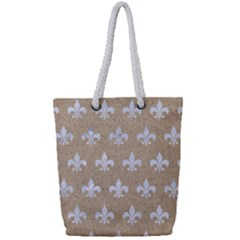 Royal1 White Marble & Sand (r) Full Print Rope Handle Tote (small)