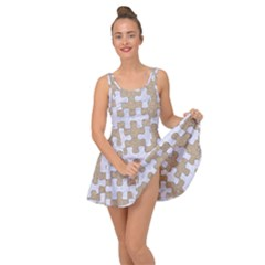 Puzzle1 White Marble & Sand Inside Out Dress