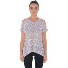 Damask2 White Marble & Sand (r) Cut Out Side Drop Tee