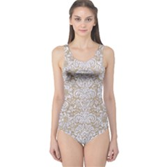 Damask2 White Marble & Sand One Piece Swimsuit