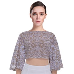 Damask2 White Marble & Sand Tie Back Butterfly Sleeve Chiffon Top
