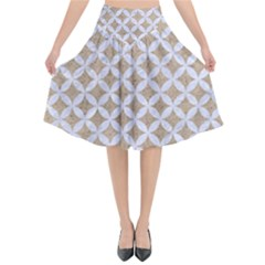Circles3 White Marble & Sand Flared Midi Skirt