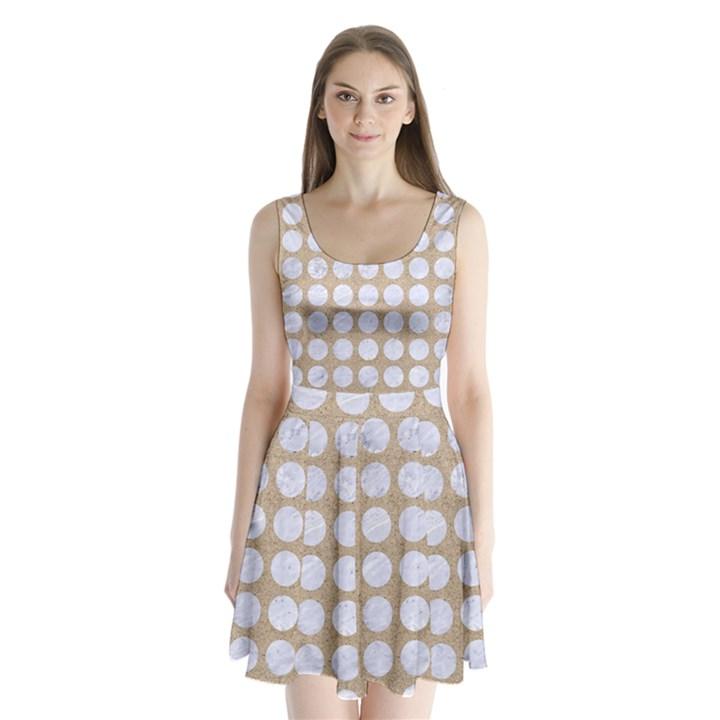 CIRCLES1 WHITE MARBLE & SAND Split Back Mini Dress