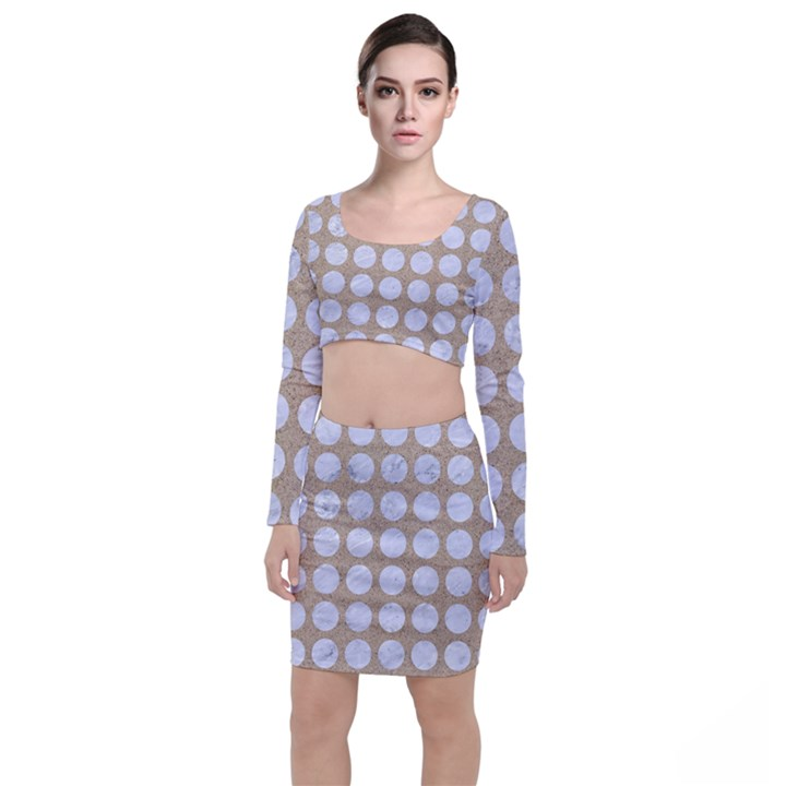 CIRCLES1 WHITE MARBLE & SAND Long Sleeve Crop Top & Bodycon Skirt Set