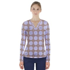 Circles1 White Marble & Sand V Neck Long Sleeve Top