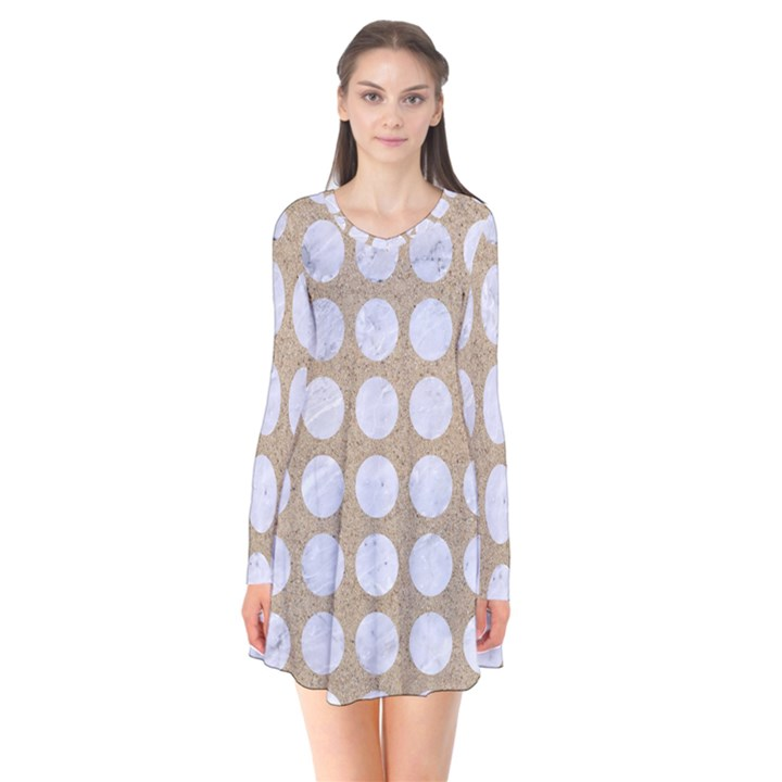 CIRCLES1 WHITE MARBLE & SAND Flare Dress