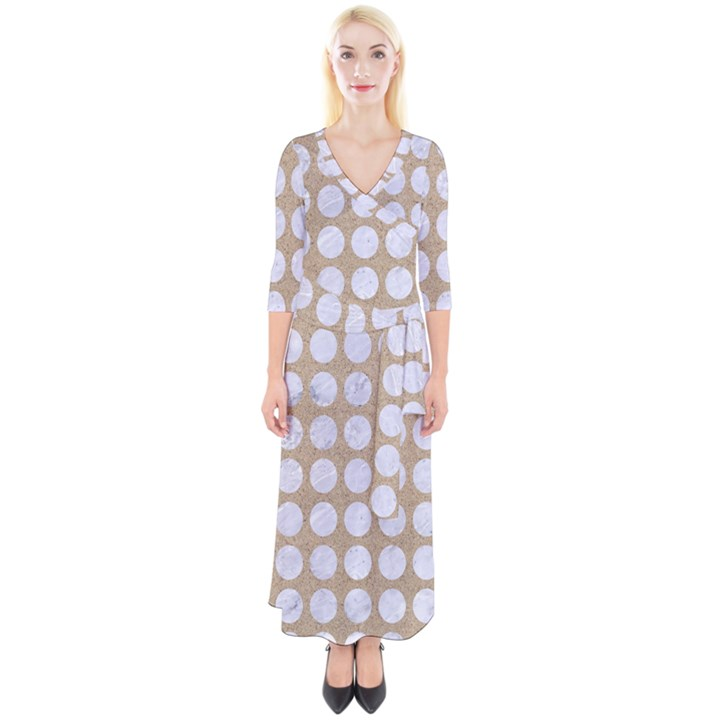 CIRCLES1 WHITE MARBLE & SAND Quarter Sleeve Wrap Maxi Dress