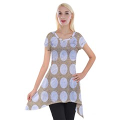 Circles1 White Marble & Sand Short Sleeve Side Drop Tunic
