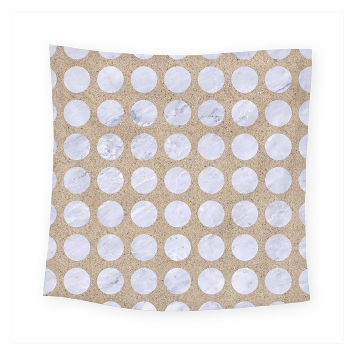 CIRCLES1 WHITE MARBLE & SAND Square Tapestry (Small)