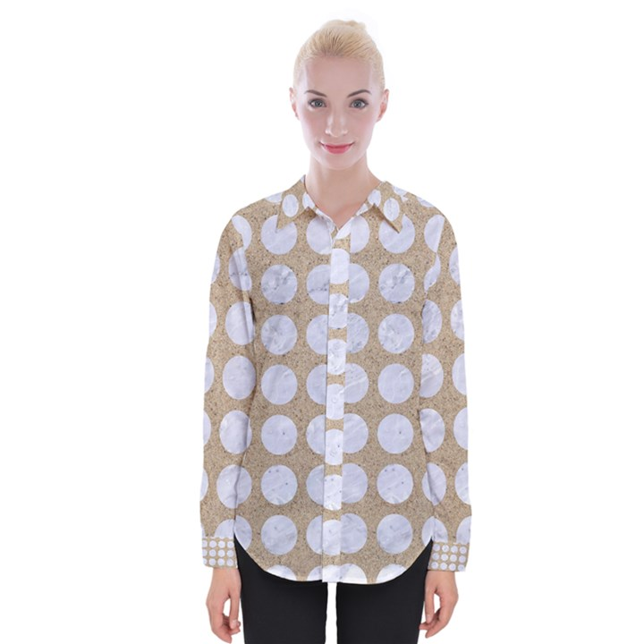 CIRCLES1 WHITE MARBLE & SAND Womens Long Sleeve Shirt
